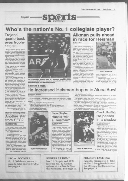 Daily Trojan, Vol. 107, No. 13, September 23, 1988