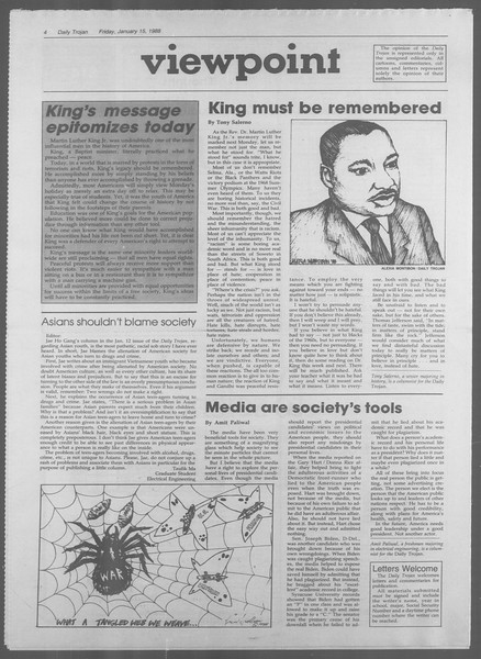 Daily Trojan, Vol. 106, No. 6, January 15, 1988