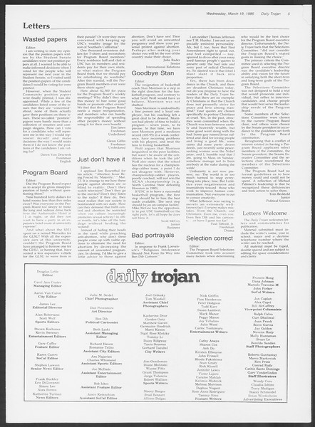 Daily Trojan, Vol. 100, No. 47, March 19, 1986