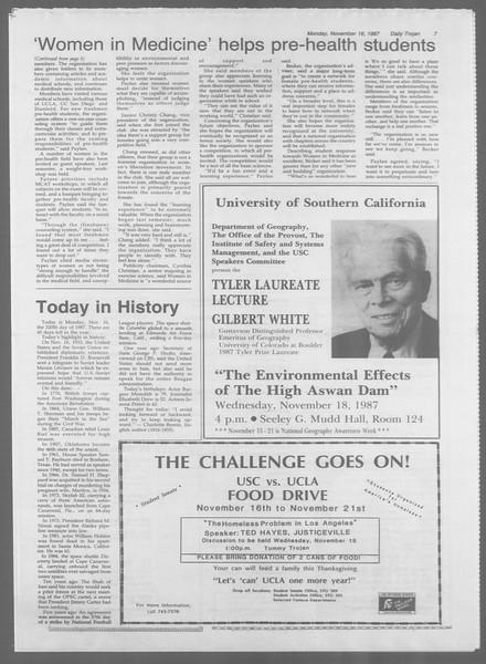 Daily Trojan, Vol. 105, No. 52, November 16, 1987