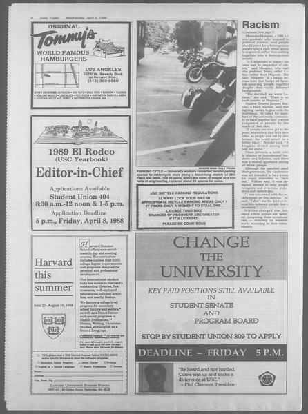 Daily Trojan, Vol. 106, No. 54, April 06, 1988