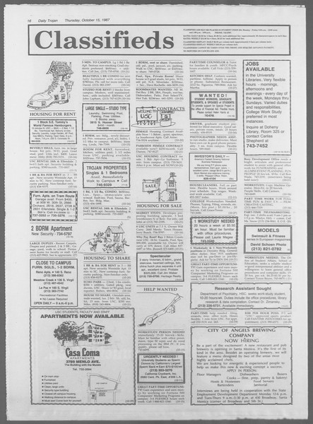 Daily Trojan, Vol. 105, No. 30, October 15, 1987