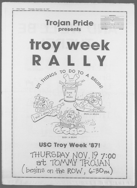 Daily Trojan, Vol. 105, No. 55, November 19, 1987