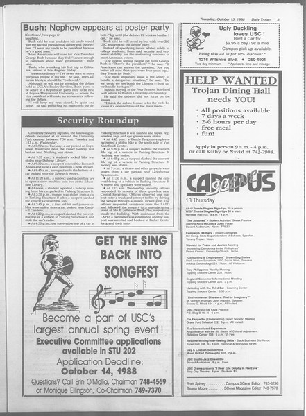 Daily Trojan, Vol. 107, No. 27, October 13, 1988