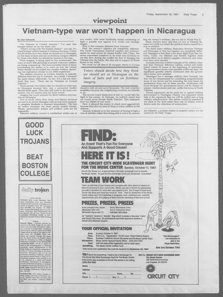 Daily Trojan, Vol. 105, No. 12, September 18, 1987