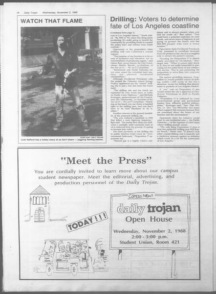 Daily Trojan, Vol. 107, No. 40, November 02, 1988