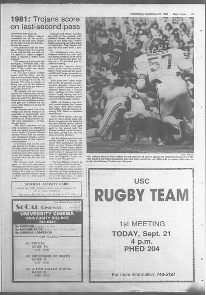 Daily Trojan, Vol. 107, No. 11, September 21, 1988