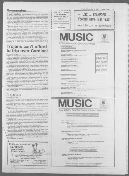 Daily Trojan, Vol. 105, No. 46, November 06, 1987