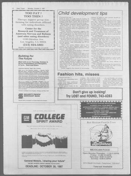 Daily Trojan, Vol. 105, No. 22, October 05, 1987