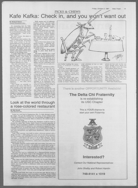 Daily Trojan, Vol. 105, No. 21, October 02, 1987