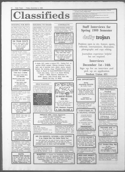 Daily Trojan, Vol. 107, No. 59, December 02, 1988