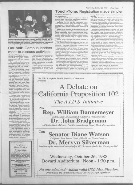 Daily Trojan, Vol. 107, No. 36, October 26, 1988
