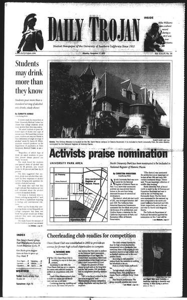 Daily Trojan, Vol. 150, No. 58, November 17, 2003