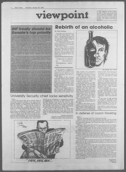Daily Trojan, Vol. 106, No. 13, January 28, 1988