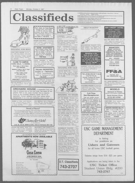 Daily Trojan, Vol. 105, No. 22, October 05, 1987