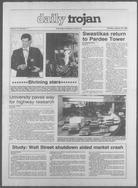 Daily Trojan, Vol. 106, No. 11, January 26, 1988