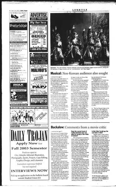 Daily Trojan, Vol. 148, No. 58, April 18, 2003