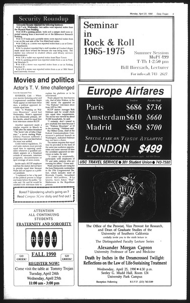 Daily Trojan, Vol. 111, No. 64, April 23, 1990
