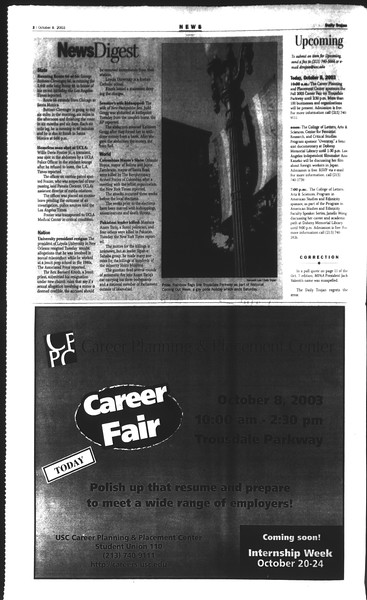 Daily Trojan, Vol. 150, No. 30, October 08, 2003