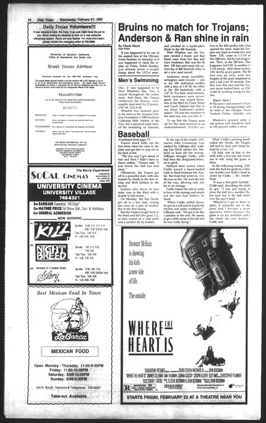 Daily Trojan, Vol. 111, No. 27, February 21, 1990