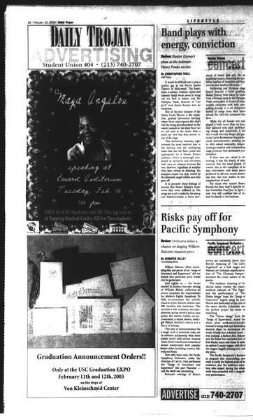 Daily Trojan, Vol. 148, No. 18, February 10, 2003