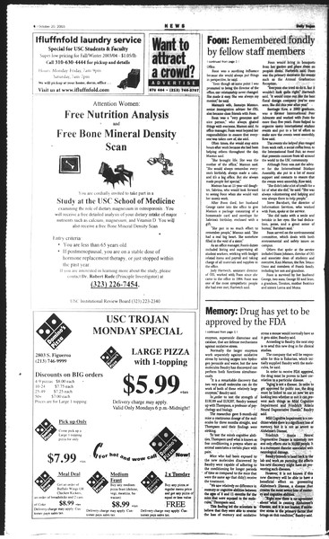 Daily Trojan, Vol. 150, No. 38, October 20, 2003
