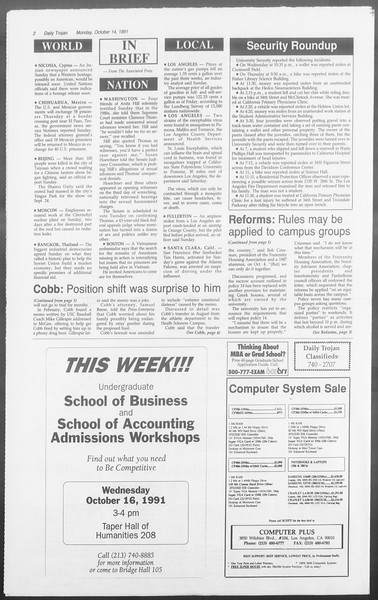 Daily Trojan, Vol. 116, No. 30, October 14, 1991