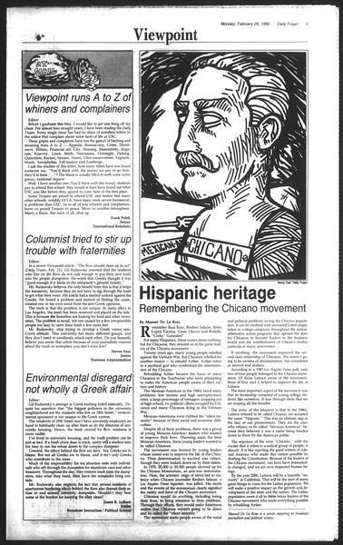 Daily Trojan, Vol. 111, No. 30, February 26, 1990