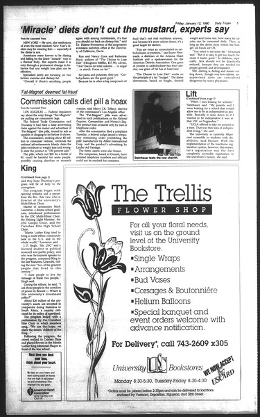 Daily Trojan, Vol. 111, No. 3, January 12, 1990