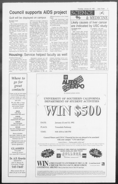 Daily Trojan, Vol. 117, No. 6, January 23, 1992