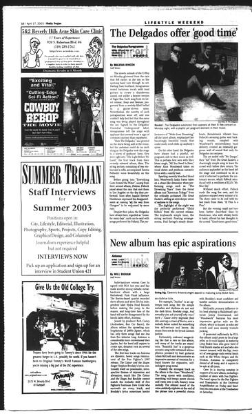 Daily Trojan, Vol. 148, No. 57, April 17, 2003