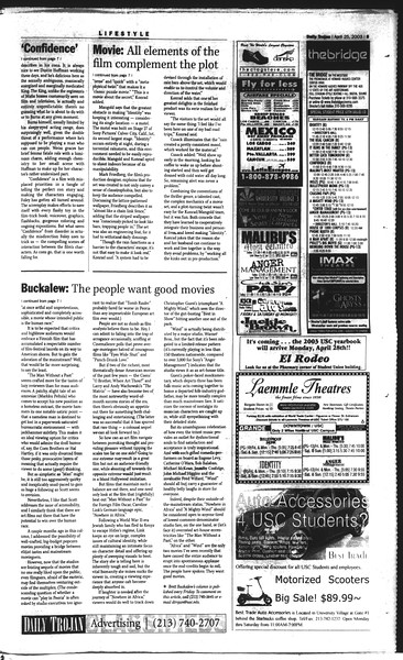 Daily Trojan, Vol. 148, No. 63, April 25, 2003