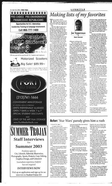Daily Trojan, Vol. 148, No. 66, April 30, 2003