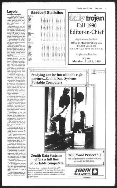 Daily Trojan, Vol. 111, No. 51, March 27, 1990