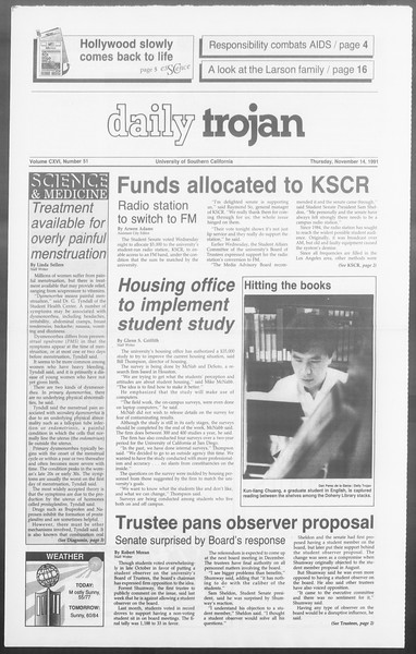 Daily Trojan, Vol. 116, No. 52, November 14, 1991