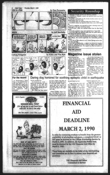 Daily Trojan, Vol. 111, No. 33, March 01, 1990