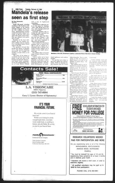 Daily Trojan, Vol. 111, No. 23, February 13, 1990