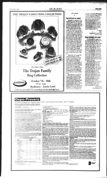 Daily Trojan, Vol. 150, No. 30, October 08, 2003
