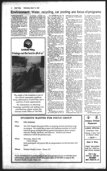 Daily Trojan, Vol. 111, No. 42, March 14, 1990