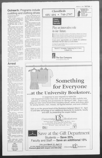 Daily Trojan, Vol. 117, No. 32, March 03, 1992