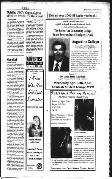 Daily Trojan, Vol. 148, No. 64, April 28, 2003