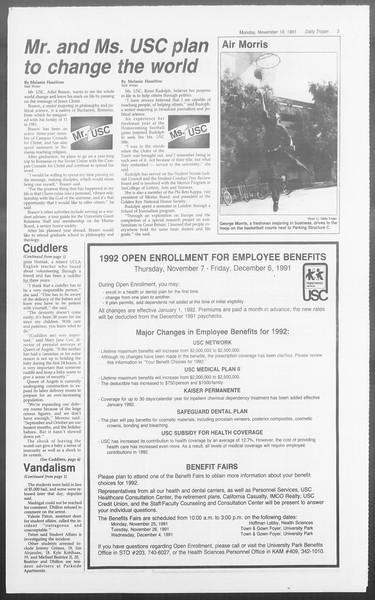 Daily Trojan, Vol. 116, No. 54, November 18, 1991