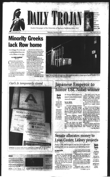 Daily Trojan, Vol. 150, No. 66, December 03, 2003