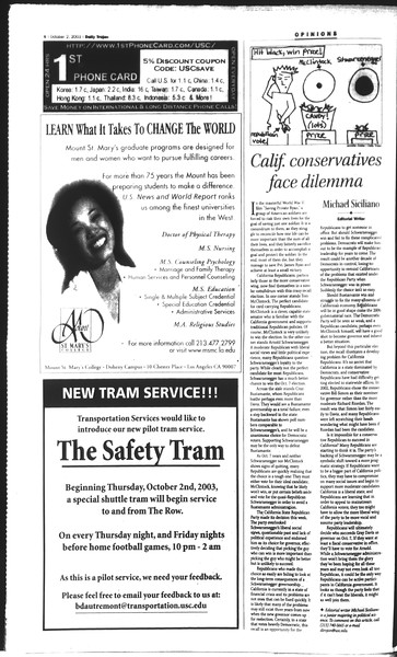 Daily Trojan, Vol. 150, No. 26, October 02, 2003