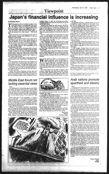 Daily Trojan, Vol. 111, No. 66, April 25, 1990