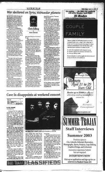 Daily Trojan, Vol. 148, No. 59, April 21, 2003
