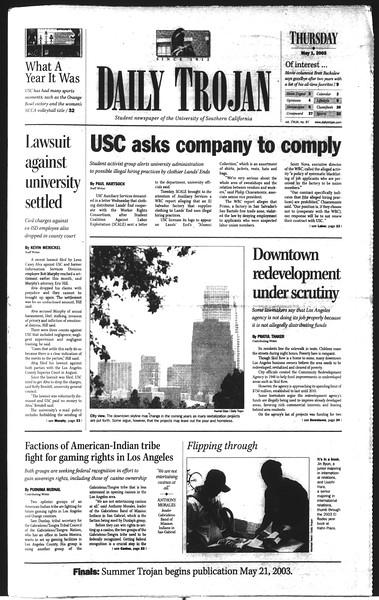 Daily Trojan, Vol. 148, No. 67, May 01, 2003