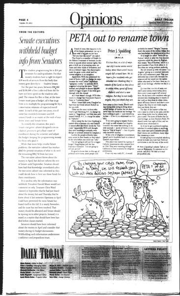 Daily Trojan, Vol. 150, No. 45, October 29, 2003