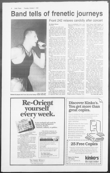 Daily Trojan, Vol. 116, No. 21, October 01, 1991