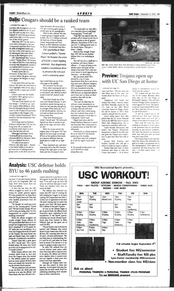 Daily Trojan, Vol. 150, No. 10, September 09, 2003
